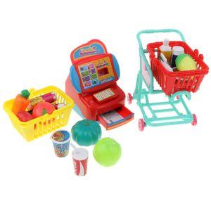 Supermarkt Spielzeug Set für Kinder Lebensfähigkeit zum Lernen ( Kinderkasse + Einkaufswagen + Lebensmittel )