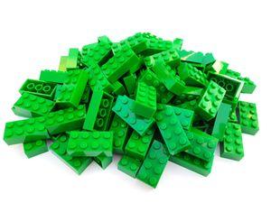Lego© Steine 100 grüne originale basic Bausteine mit 2*4 Noppen + Steinetrenner *neu und unbespielt*