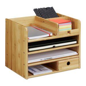 relaxdays Schreibtisch Organizer Bambus