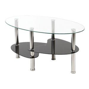 WYCTIN Couchtisch Kaffeetisch Wohnzimmertisch Beistelltisch Glas Tisch Ablage 3 Farben