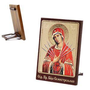 Ikone Siebenpfeilige Mäßigung der bösen Herzen Holz 8 x 6 икона Семистрельная