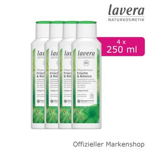 4x250ml lavera Pflegeshampoo Frische & Balance Shampoo Bio-Matcha & Bio-Quinoa