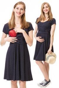 GFWL Umstandskleid Stillkleid #3in1 Schwangerschaftskleid Stillen GF1042XG in Marine mit weißen Punkten, Größe Damen EU:42 X-Large
