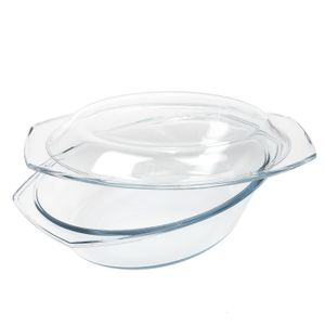 Glas Auflaufform 2,9L oval mit Deckel Classic
