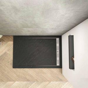 Schwarze Rechteck Duschtasse 90x100cm Sanitär estra flache rechteckige Duschwanne mit Schlauch + Siphon