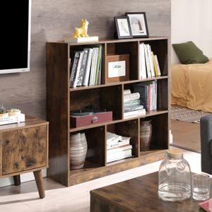 VASAGLE Bücherregal Vintage aus Holz 97,5 x 30 x 100 cm mit Standregal offenen Fächern Vitrine  Dunkelbraun LBC52BX