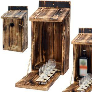 Holz Vogelhaus mit Platz für Flasche Schnaps 0.7 Liter und Glas, Lustige Geschenke Männer für den Garten, Zwitscherbox mit Minibar, Lustig Geschenk Geburtstag Mann, Vatertagsgeschenk