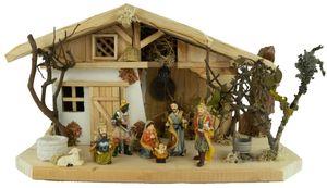 Festliche Weihnachtskrippe Himmelgarten inkl. 10-tlg. Figurensatz K 132