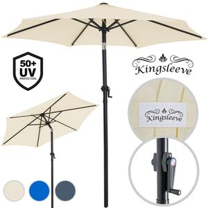 Sonnenschirm ALU Ø200cm UV-Schutz 50+ Handkurbel Balkonschirm Marktschirm Gartenschirm Schirm, Farbe:anthrazit
