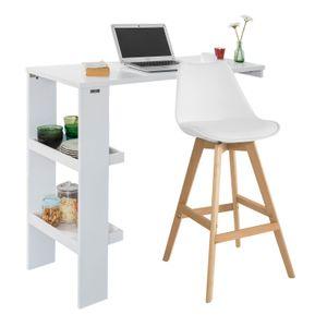 SoBuy Bartisch Küchentisch Wandtisch mit 2 Regalfächern BHT ca.: 120x106x45cm FWT55-W