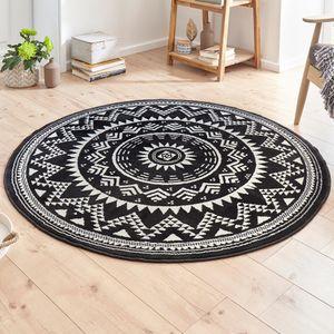 Designer Velours Teppich Valencia Schwarz Creme Rund, Größe:140 cm rund