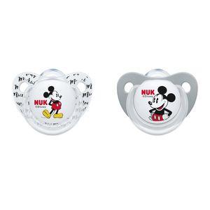 NUK Disney Mickey Minnie Silikon-Schnuller, 0-6 Monate, 2 Stück grau/weiß