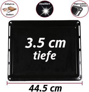 ICQN Backblech 445 x 375 x 35 mm für Backofen | Emailliert | Fettpfanne | Passend für Whirlpool Bauknecht Ignis IKEA | 481245819334 481010683241