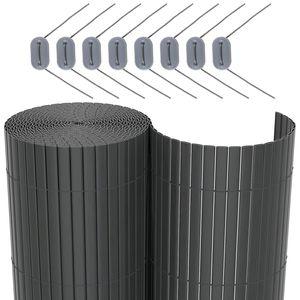 SONGMICS PVC Sichtschutzmatte 100 x 400 cm Sichtschutz stabil für Garten Balkon und Terrasse Grau GPF3104G