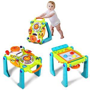 COSTWAY 3 in 1 Lauflernhilfe & Spielbrett & Zeichentisch mit Musik und Lichter, Baby Walker mit Zaubertafel und Zubehör, Gehfrei für Kleinkinder ab 9 Monaten