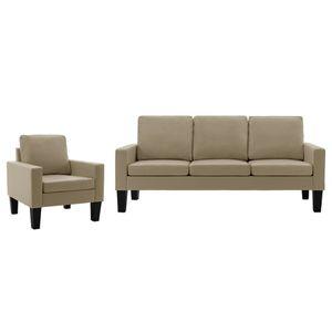 Sofagarnitur 2-tlg. Couch Loungesofa Sofa-Set Cappuccino-Braun Kunstleder