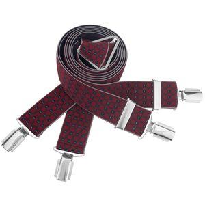 LINDENMANN Hosenträger Herren 35 mm breit, X-Form, Herren-Hosenträger mit 4 Clips, Längenverstellbar, elastisch und flexibel, bordeaux, Größe / Size:120, Farbe / Color:rot