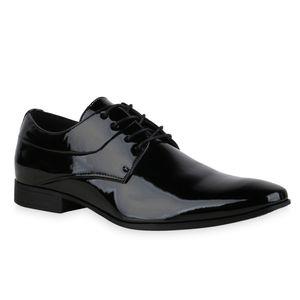 Mytrendshoe Herren Klassische Schnürer Blockabsatz Business Schuhe 835989, Farbe: Schwarz, Größe: 42