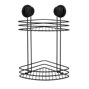 MSV Duschregal Eck Duschkorb Badezimmer ohne Bohren mit Saugnäpfen Stahl Verchromt 31,5x31,5x40cm