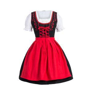 Dirndl 3 tlg.Trachtenkleid Kleid, Bluse, Schürze, Gr. 34-52 schwarz rot 42