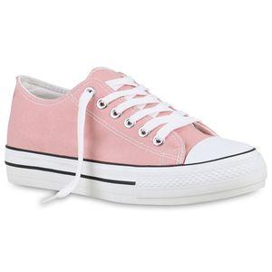 Mytrendshoe Damen Plateau Sneaker Turnschuhe Schnürer Basic Plateauschuhe 825911, Farbe: Rosa, Größe: 38