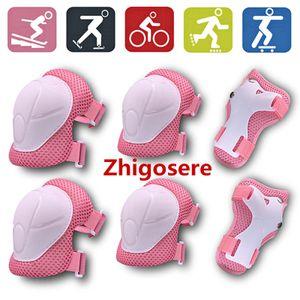 6 Stück / Set Kinderschutzausrüstung, Knieschützer für Kinder von 3 bis 9 Jahren, zum Skaten Radfahren 13 x 11 cm Rosa