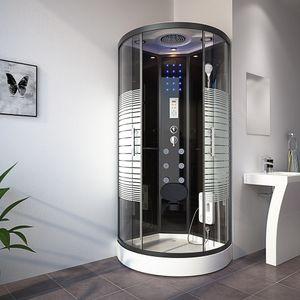 HOME DELUXE - Dampfdusche Black PEARL (Cr) 100x100 cm mit Dampf Dusche Regendusche Komplettdusche