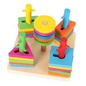 Holzspielzeug 1 Jahre Holzpuzzles Geometrisches Stapel Steckspiel Sortierspiel Lernspielzeug für Kleinkind Kinder
