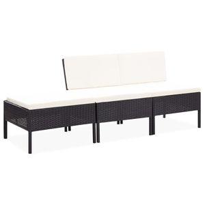 SIRUITON 3-tlg. Garten-Lounge-Set Gartenmöbel-Set für Balkon oder Terrassemit Auflagen Poly Rattan Schwarz