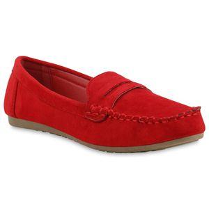 Mytrendshoe Damen Mokassins Slipper Bequeme Freizeitschuhe 833117, Farbe: Rot, Größe: 38