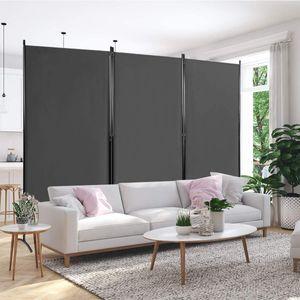 COSTWAY Raumteiler mit verstellbaren Untersetzern, Trennwand Paravent Wand Sichtschutz Wandschirm Grau, 3-teiliger