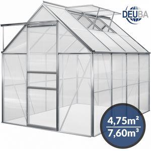 Gardebruk Aluminium Gewächshaus 4,75m² 250x190cm Treibhaus Gartenhaus Frühbeet Pflanzenhaus Aufzucht 7,63m³