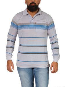 Herren Polo Shirt Langarm Longsleeve mit Brusttaschen, Hellgrau L