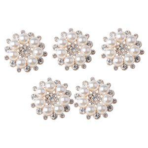5 Stück Strass Faux Perle Blume Flatback Buttons Knöpfe Hochzeitskleid Verzierungen Strass Steine zum Verzieren