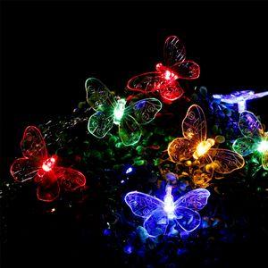 LED Solar Lichterkette 'Schmetterling' - 24 bunte LED - L: 7,14m - mehrfarbig transparent
