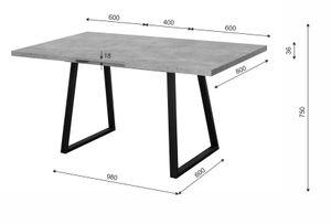 Esstisch LOFT Betongrau 80x120 cm Küche Esszimmer Wohnzimmer