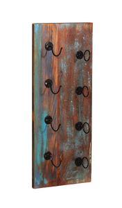 SIT Möbel Wand-Weinregal   für 4 Flaschen   Altholz bunt   Altmetall schwarz   B 33 x T 4 x H 80 cm   09131-98   Serie RIVERBOAT