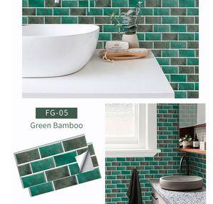 Fliesenaufkleber 30 x 15 cm Fliesenspiegel Klebefolie Fliesenfolie für Küche und Badezimmer Aufkleber,Grün