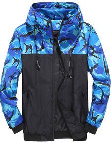 Herren Tarnmantel Rollkragenjacke Reißverschluss Outdoor Hooded Outwear Kordelzug,Farbe:Blau,Größe:6XL