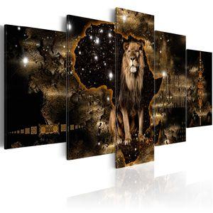 Modernes Wandbild g-A-0011-b-o (200x100 cm) - 5 Teilig Bilder Fotografie auf Vlies Leinwand Foto Bild Dekoration Wand Bilder Kunstdruck AFRIKA LÖWE