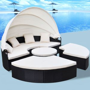 Outdoor-Sonneninsel Poly Rattan Schwarz