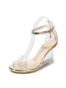 Abtel Damen Mode sexy Sandalen einfarbige Knöchelriemen Fischmaul Schuhe,Farbe:Golden,Größe:38