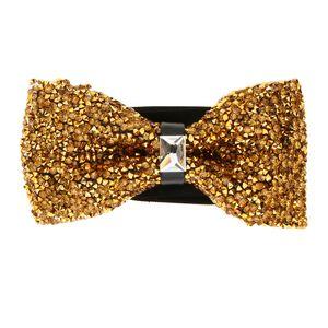 Herren Kristall Glänzend Strass Fliege Verstellbar Krawatte für Hochzeit Party Gold wie beschrieben