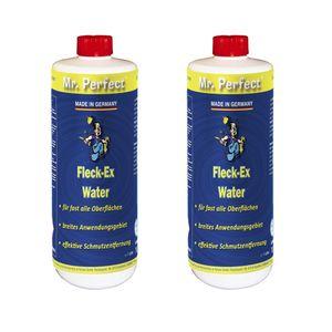 Mr. Perfect® Fleck-Ex Fleckenwasser, 2 x 1L - Textilreiniger beseitigt Verunreinigungen von Öl, Fett, Teer, Getränken, uvm.