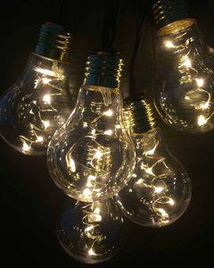 FHS 33408 LED Party Lichterkette Außen Glühbirnen 5,7m + 5m Zuleitung 20 Birnen