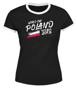 Damen WM-Shirt Polen Poland Polska WM Fußball Weltmeisterschaft 2018 World Cup Vintage WM 2018 Moonworks®  schwarz-weiß M