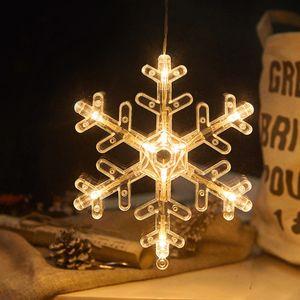 2 Stücke LED Schneeflocke Lichterkette Fensterlicht mit Saugnapf Für Party Weihnachten Hängende Fenster Deko