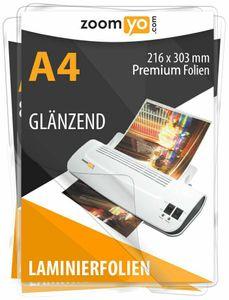 Zoomyo Laminierfolien DIN A4, 100 Stück, glänzend, 2 x 75 Micrometer, für alle handelsüblichen Laminiergeräte wie Laminator Olympia, Zoomyo etc., zum Schutz wichtiger Papiere