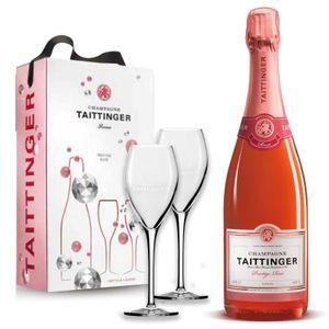 Taittinger Champagner 0,75l Prestige Rosé mit zwei Gläser