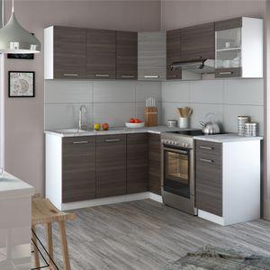 Vicco Küche Rick L-Form Küchenzeile Küchenblock Einbauküche 167x187cm Anthrazit